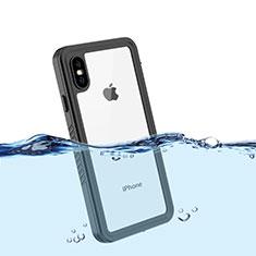 Custodia Impermeabile Silicone e Plastica Opaca Waterproof Cover 360 Gradi per Apple iPhone Xs Max Nero
