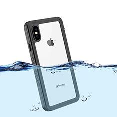 Custodia Impermeabile Silicone e Plastica Opaca Waterproof Cover 360 Gradi per Apple iPhone Xs Nero