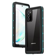 Custodia Impermeabile Silicone e Plastica Opaca Waterproof Cover 360 Gradi per Samsung Galaxy Note 20 5G Ciano