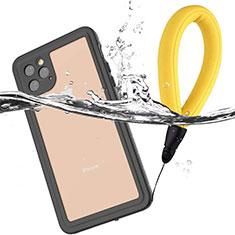 Custodia Impermeabile Silicone e Plastica Opaca Waterproof Cover 360 Gradi U01 per Apple iPhone 11 Pro Nero