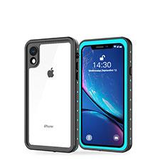 Custodia Impermeabile Silicone e Plastica Opaca Waterproof Cover 360 Gradi W01 per Apple iPhone XR Ciano