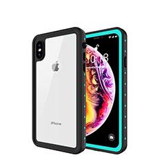 Custodia Impermeabile Silicone e Plastica Opaca Waterproof Cover 360 Gradi W01 per Apple iPhone Xs Max Ciano