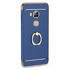Custodia Lusso Alluminio con Anello Supporto per Huawei G7 Plus Blu