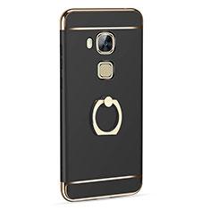 Custodia Lusso Alluminio con Anello Supporto per Huawei G7 Plus Nero