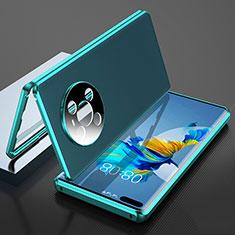 Custodia Lusso Alluminio Cover 360 Gradi K04 per Huawei Mate 40 Pro Ciano