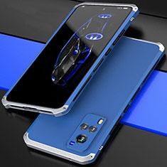 Custodia Lusso Alluminio Cover 360 Gradi per Vivo X60 5G Argento e Blu