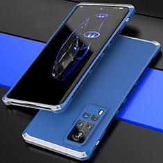 Custodia Lusso Alluminio Cover 360 Gradi per Vivo X60 Pro 5G Argento e Blu