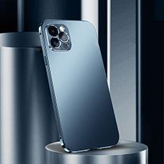 Custodia Lusso Alluminio Cover N02 per Apple iPhone 12 Pro Max Blu