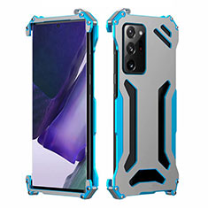 Custodia Lusso Alluminio Cover N02 per Samsung Galaxy Note 20 Ultra 5G Cielo Blu