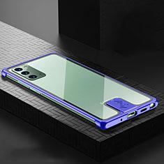 Custodia Lusso Alluminio Cover N03 per Samsung Galaxy Note 20 5G Blu