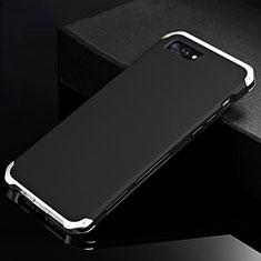 Custodia Lusso Alluminio Cover per Apple iPhone 8 Plus Argento e Nero