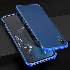 Custodia Lusso Alluminio Cover per Apple iPhone Xs Blu