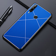 Custodia Lusso Alluminio Cover per Huawei Enjoy 10 Plus Blu