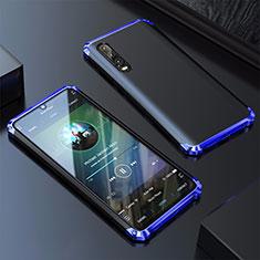 Custodia Lusso Alluminio Cover per Huawei P30 Blu