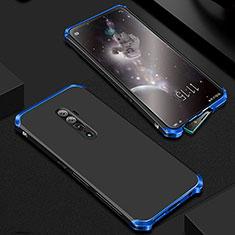 Custodia Lusso Alluminio Cover per Oppo Reno 10X Zoom Blu