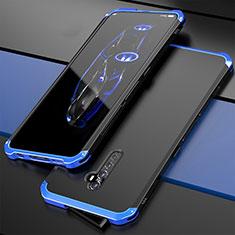 Custodia Lusso Alluminio Cover per Oppo Reno2 Blu