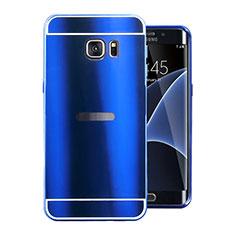 Custodia Lusso Alluminio Cover per Samsung Galaxy S7 Edge G935F Blu