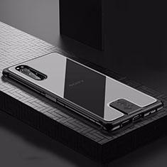 Custodia Lusso Alluminio Cover per Sony Xperia 5 Nero