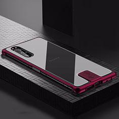 Custodia Lusso Alluminio Cover per Sony Xperia 5 Rosso Rosa