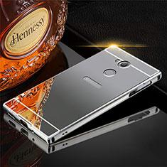 Custodia Lusso Alluminio Cover per Sony Xperia XA2 Plus Grigio