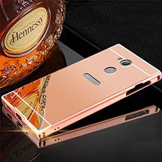Custodia Lusso Alluminio Cover per Sony Xperia XA2 Plus Oro Rosa