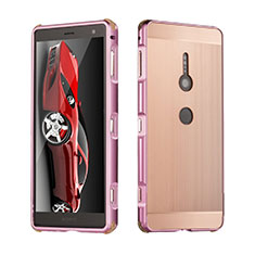 Custodia Lusso Alluminio Cover per Sony Xperia XZ2 Oro Rosa