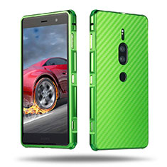 Custodia Lusso Alluminio Cover per Sony Xperia XZ2 Premium Verde