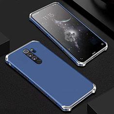 Custodia Lusso Alluminio Cover per Xiaomi Redmi Note 8 Pro Blu