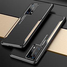 Custodia Lusso Alluminio Cover T01 per Huawei P40 Pro+ Plus Oro