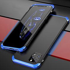 Custodia Lusso Alluminio Cover T02 per Apple iPhone 12 Pro Max Blu e Nero