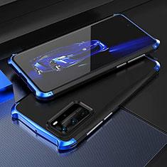 Custodia Lusso Alluminio Cover T05 per Huawei P40 Pro Blu