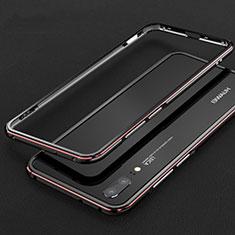 Custodia Lusso Alluminio Laterale Cover M01 per Huawei P20 Rosso e Nero