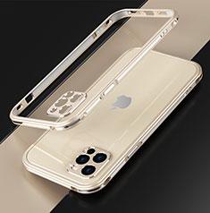 Custodia Lusso Alluminio Laterale Cover N01 per Apple iPhone 12 Pro Max Oro