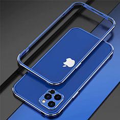 Custodia Lusso Alluminio Laterale Cover N02 per Apple iPhone 12 Pro Max Blu