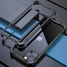 Custodia Lusso Alluminio Laterale Cover N03 per Apple iPhone 12 Pro Max Nero