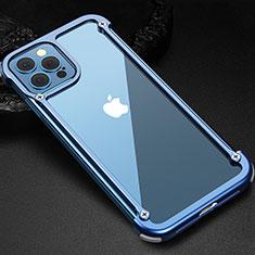 Custodia Lusso Alluminio Laterale Cover N04 per Apple iPhone 12 Pro Blu