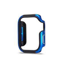 Custodia Lusso Alluminio Laterale Cover per Apple iWatch 5 40mm Blu e Nero