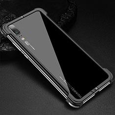 Custodia Lusso Alluminio Laterale Cover per Huawei P20 Nero