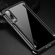Custodia Lusso Alluminio Laterale Cover per Huawei P30 Nero