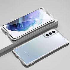 Custodia Lusso Alluminio Laterale Cover per Samsung Galaxy S21 5G Argento