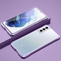 Custodia Lusso Alluminio Laterale Cover per Samsung Galaxy S21 5G Lavanda