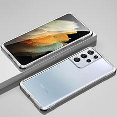 Custodia Lusso Alluminio Laterale Cover per Samsung Galaxy S21 Ultra 5G Argento