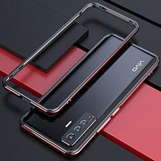 Custodia Lusso Alluminio Laterale Cover per Vivo X50 5G Rosso e Nero