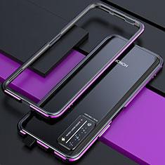 Custodia Lusso Alluminio Laterale Cover T01 per Huawei Honor X10 5G Viola e Nero