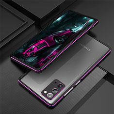 Custodia Lusso Alluminio Laterale Cover T01 per Samsung Galaxy Note 20 5G Viola