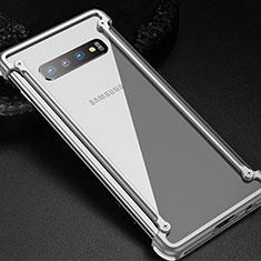 Custodia Lusso Alluminio Laterale Cover T01 per Samsung Galaxy S10 5G Argento