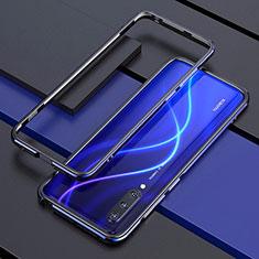 Custodia Lusso Alluminio Laterale Cover T01 per Xiaomi Mi A3 Blu e Nero