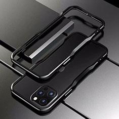 Custodia Lusso Alluminio Laterale Cover T03 per Apple iPhone 12 Pro Max Nero