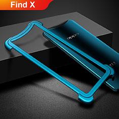 Custodia Lusso Alluminio Laterale per Oppo Find X Blu
