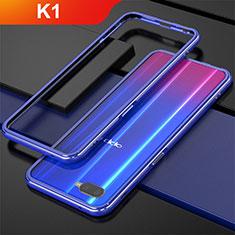 Custodia Lusso Alluminio Laterale per Oppo K1 Blu